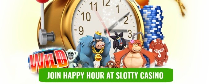 Happy Hour - get 10 free spins daily at Sloty Casino