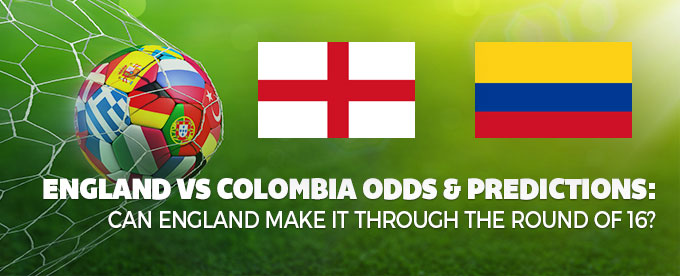 England vs Colombia odds - round of 16 predictions