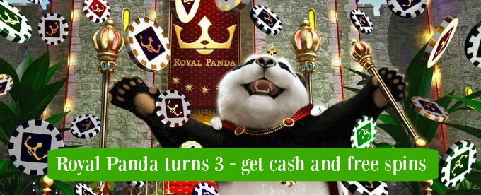 Royal Panda gives Cash and Free spins for its 3rd Birthday